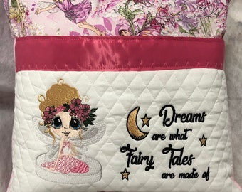 Pocket pillow  reading pink child reading pillow pink fairy fabric zip close pink satin trim pink fleece back fairy tales embroidery