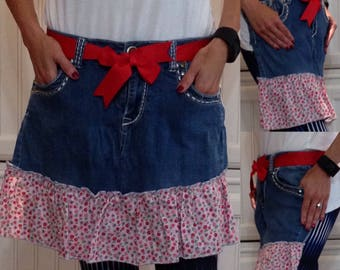Denim half apron cotton pink flowered ruffle red grosgrain ribbon ties long waist ties dark blue denim apron repurposed denim