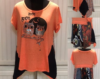 Womens upcycled tunic tee pop over top owls boo boo spider black orange gray two pockets orange stripe kokopelli upcycled Easy fit XL shirt