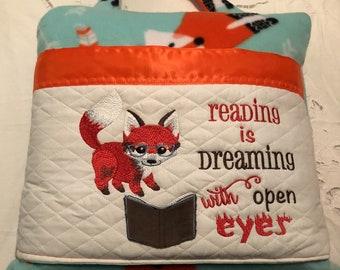 Pocket pillow embroidered fox child reading pillow reading quote zip close orange  satin trim orange fox on aqua print soft  fleece