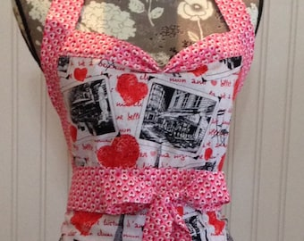 Women's ruffled full apron Paris theme red toile red hearts pink hearts black gingham check ruffled black white Paris toile ruffles