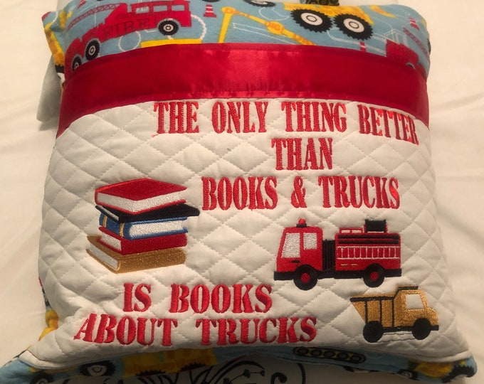 Pocket reading pillow books with Blue red fire truck yellow truck print child reading pillow handle pocket trucks flannel print zipper close