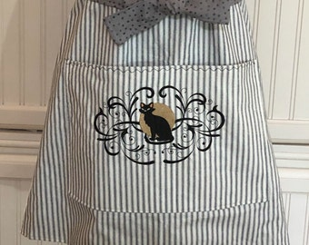 Full Apron Vintage style reversible black stripe reverses to black silver print gray ties black cat pocket embroidery black lace trim