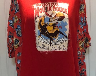 Womens upcycled moulin rouge theme tee shirt tunic Dress cold shoulder red blue flower print sleeve upcycled blue red tee L to Size XXL