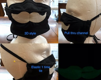 Face mask embroidered white glow in dark mustache Reusable face mask filter black cotton 2 layer face mask nose wire elastic 1 time tie