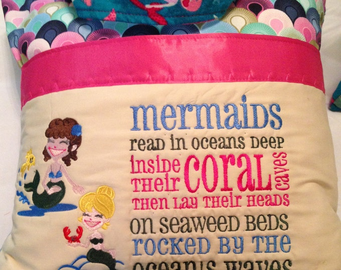 Pocket pillow mermaids embroidery hot pink satin trim reading pillow childs reading pillow cotton rainbow scales mermaid flannel zip close