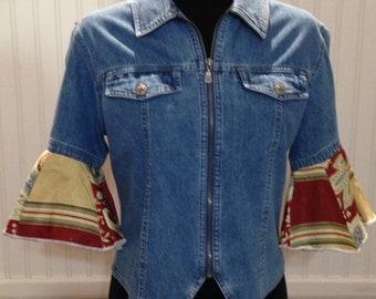 Womens upcycled denim jacket vintage embroidered off white tree of life on back burgundy gold flared sleeve and shoulder trim boho chic
