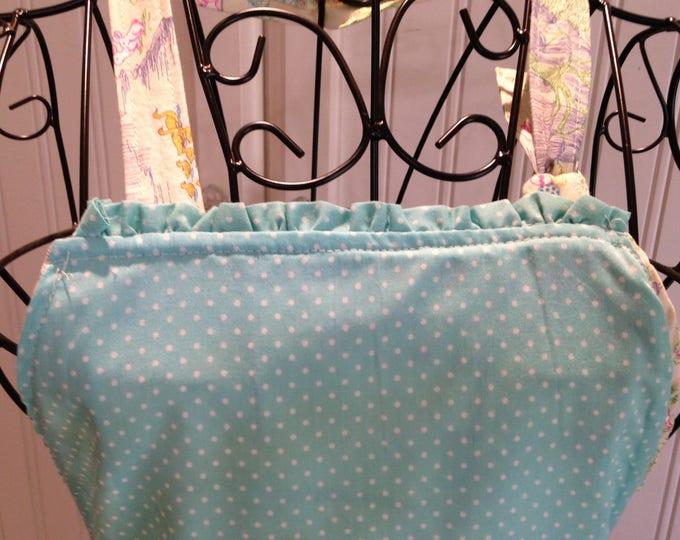 Daughter apron, Aqua toile, child's full apron, full apron, bunny toile, aqua ruffle trim, aqua dot, Ruffled pockets, Mother daughter apron