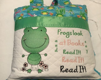 Pocket pillow reading pillow child reading pillow green frog fabric zip close aqua satin trim aqua vintage chenille frog  embroidery