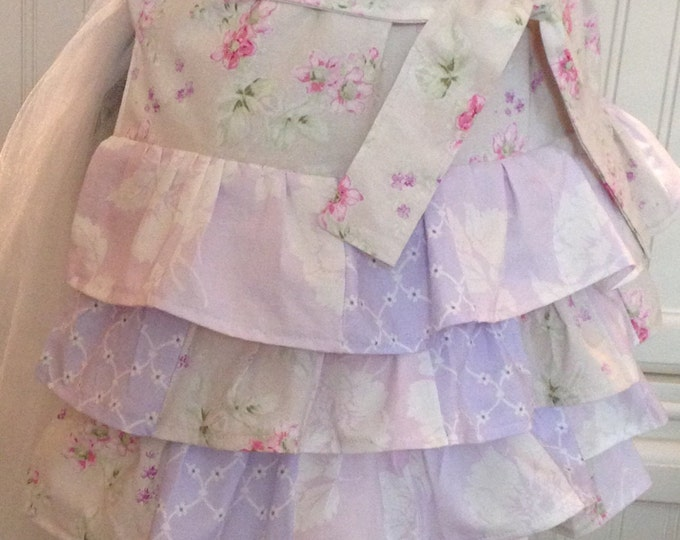 women's Childs full apron lavender pink flowered ruffles low hip ruffles lined purple lavender lilac flowered cotton patchwork ruffles