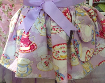 Tutu for Tea  daughter aprons choice yellow gray blue purple tea cup sparkle and shine tulle ballerina tutu ribbon ties ricrac pocket