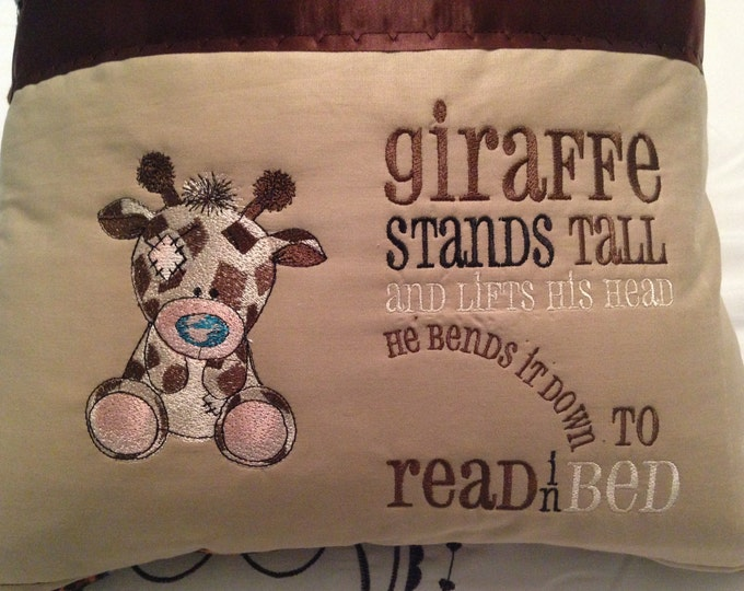 Pocket pillow giraffe reading pillow childs reading pillow animal fur print fabric handle book tall giraffe quote zip close brown satin trim