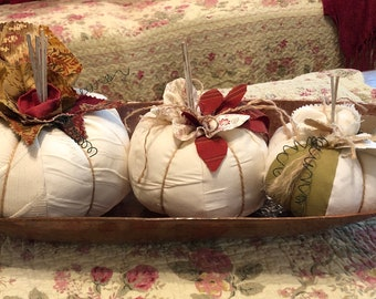 Fabric pumpkin trio Fall decor handmade pumpkins stuffed pumpkin Fall table decor home decor fabric pumpkin cream off white pumpkins