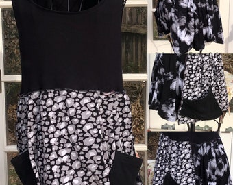 Women's black white sleeveless tunic easy fit flared tunic black tank top black white pocket Large tunic langenlook upcycled tee shirts