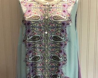 Women XL Button front Dress upcycled purple aqua lavender paisley pocket dress A line ruffle hem light weight sleeveless upcycled