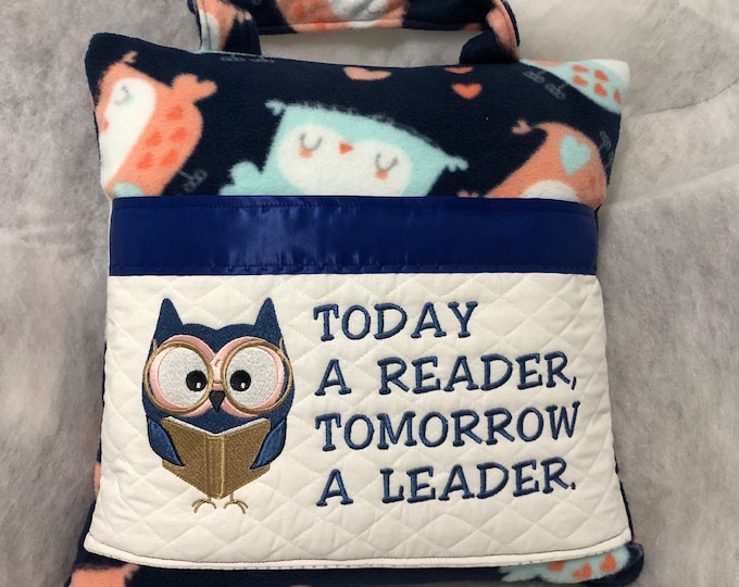 Pocket pillow owl embroidery navy satin reading pillow childs reading pillow navy orange aqua fleece orange zip close white quilted pocket