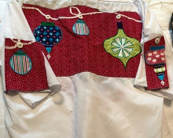 Womens holiday white shirt Upcycle shirt Griswald Christmas shirt flared inset sleeves easy fitting repurposed refashion