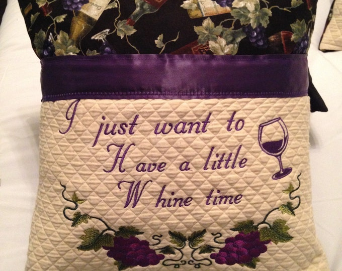 Wine theme pillow cover embroidered pillow cover book pocket pillow cover book black pillow cover wine and whine cream quilted pocket pillow