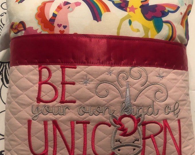 Book Pocket pillow embroidered unicorn pink satin trim pink unicorn flannel child travel pillow pink quilted pocket be a unicorn quote