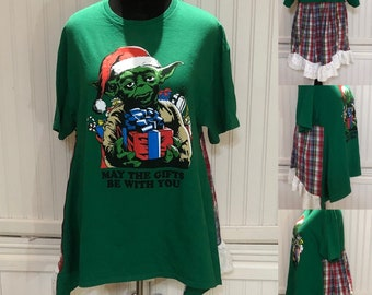Womens tunic pop over top Green red plaid Christmas Star Wars Yoda upcycled tee eyelet lace ruffle hem cotton up cycled Easy fit XXL shirt