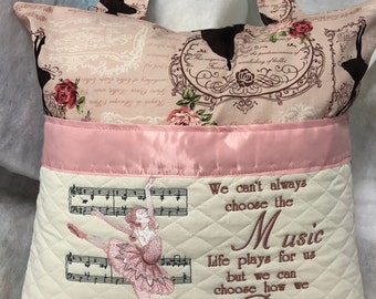 Pocket pillow pink ballerina reading pillow childs reading pillow fabric handle zipper close light pink satin trim rose ballet print
