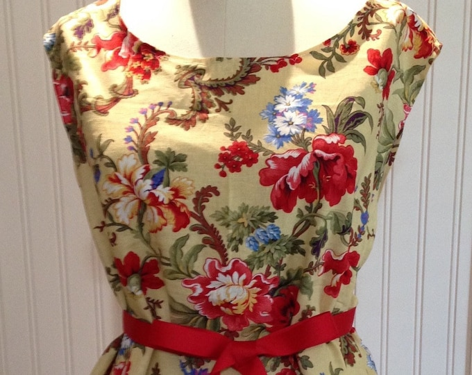 Women tunic yellow red blue flowers red grosgrain ribbon ties XL tunic one size tunic adjustable ribbon ties cotton tunic red blue on yellow