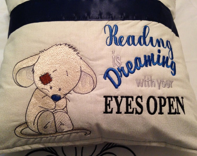 Pocket pillow shy mouse reading pillow childs reading pillow Soft tan fabric handle reading dreaming quote zip close navy blue  satin trim
