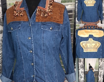 Womens M denim jacket upcycled jacket bronze leather look patch with studs bronze braided Pom Pom and crystals trim coco Chanel quote crown