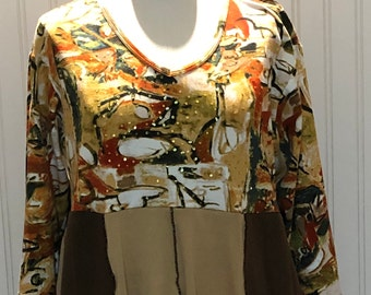 Womens empire waist dress tunic brown camel orange gold print flare tee tunic upcycled tee abstract print sequins size L large pockets