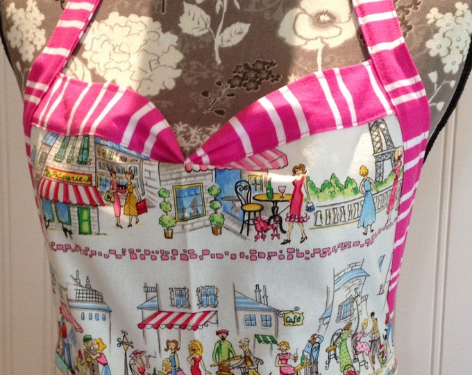 Featured listing image: Women's ruffled full apron Paris cafe print hot pink striped ties pink polka dots cream eyelet lace ruffled skirt pink aqua cream bird toile