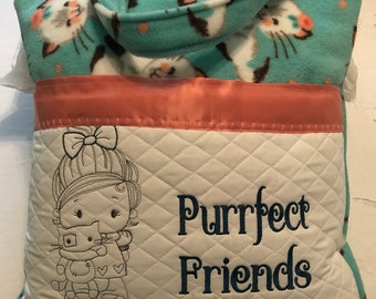 Pocket pillow girl kitty cat reading pillow children's reading pillow peach aqua handle purrfect friendsquote embroidered kitten