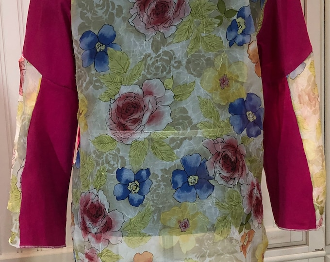 Women shirt hot pink linen rayon Pink blue gold back flare sleeves split hem white rose embroidery low hip tunic length sheer back