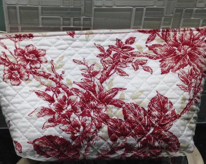 Womens make up bag red cream beige toile print fabric toiletry bag medium zipper bag travel bag quilted fabric bag red beige cream zip bag