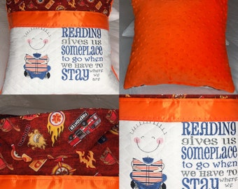 Pocket pillow embroidered boy fire truck child reading pillow zip close fire house orange brown print bright orange minky dot extra soft