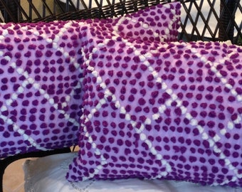 Chenille Pillow cover repurposed vintage purple dot lumbar pillow covers vintage chenille purple chenille pillow covers vintage crochet hem