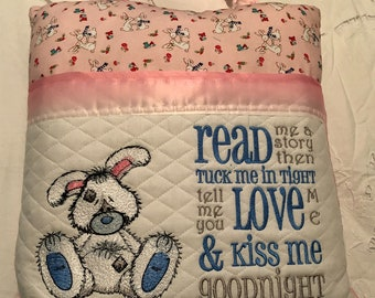Pocket pillow embroidered bunny pillow child reading pillow reading quote zip close pink satin trim kissing bunnies print pink minky dot