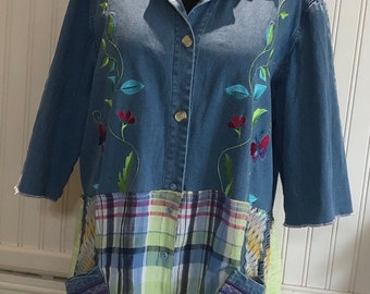 Womens upcycled duster jacket shabby chic lime green embroidered flowers green blue plaid repurposed tee large embroidered pockets upcycled