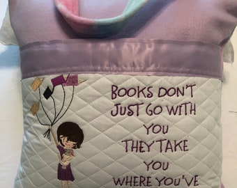 Pocket pillow reading pillow childs reading pillow girl with book balloons fabric handle zip close purple satin trim Purple Stars fleece