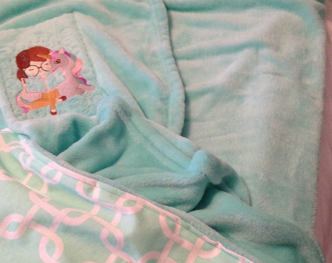 Nap mat cover Childs sleep mat cuddly bright aqua minky aqua white quatro back embroidered reading girl unicorn fabric easy slip on handled