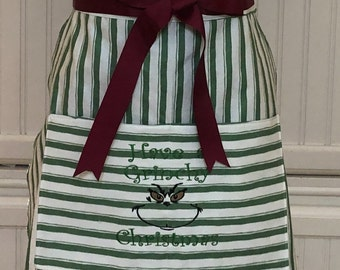 Full Apron Vintage style green white striped sweetheart bodice Christmas green grinch pocket embroidery wine grosgrain ribbon ties grinch