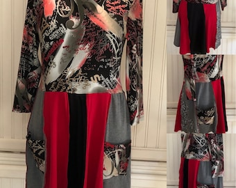 Womens empire waist dress tunic black Red gray A line tee tunic upcycled tee graphic art print  bling size M large pockets