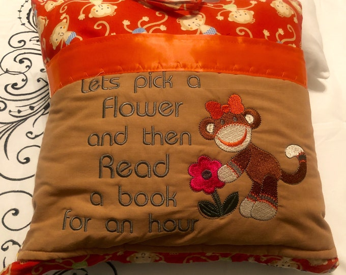 Pocket reading pillow orange brown monkey childs reading pillow handle pocket sock girl monkey bike flannel monkey print zipper close