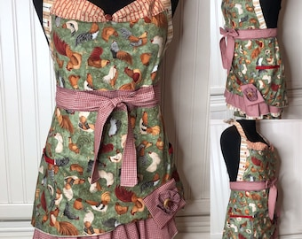Women's full apron chicken theme brown green red gingham ruffled cotton shabby chic chicken print rust red gingham ruffle posh girl apron