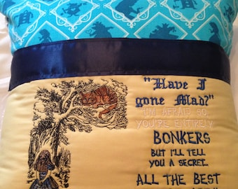 Pocket pillow fairy reading pillow blue yellow child reading pillow Alice Cheshire Cat quote zip close navy satin trim vintage chenille back
