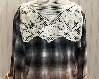 Womens long sleeve upcycled flannel shirt boho flannel shirt bleach fade shirt black blue tan cream shirt vintage crochet back panel trim