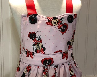 Children's apron red pink mouse print red grosgrain ribbon ties mouse embroidered black mouse pocket black vintage button trim full apron