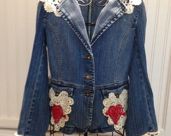 Womens upcycled denim jacket vintage hand embroidered pansy vintage cream crochet collar cuff red lace hearts pocket trim boho chic
