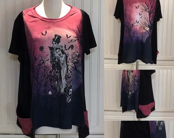 Womens upcycled tunic tee pop over top skeleton couple bats purple black Tee shirt two pockets  Easy fit XL shirt
