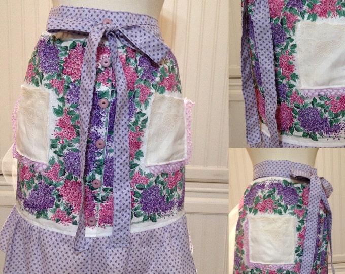 Vintage half apron cotton napkins purple pink lilacs lavender purple cotton ties extra long ties vintage buttons hanky pockets crocheted