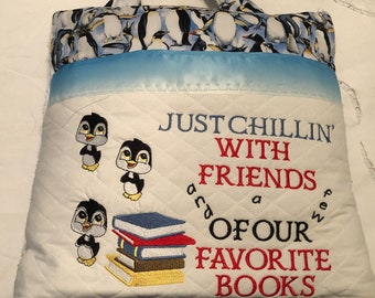 Pocket pillow embroidered penguin child reading pillow friends quote zip close blue satin trim penguin print print blue vintage chenille
